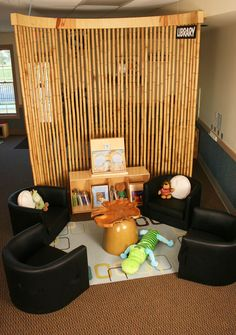 Great bamboo screen. Black chairs are a bit too severe. Lovely wooden table. Image from Childcare Design, Daycare Design - Creative Environments Design Collaborative