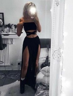 Two Piece Black Split Side Prom Dresses Club Outfits Black dresses Piece Prom Side Split Edgy Outfits, Cute Casual Outfits, Mode Outfits, Girl Outfits, Fashion Outfits, Fashion Fashion, Ladies Outfits, Club Fashion, Gothic Outfits