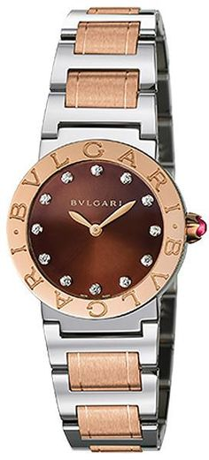 BVLGARI Brown Lacquered Diamond Dial Stainless Steel  amp  18k Pink Gold  26mm Ladies Watch Product 54b5c137eb9