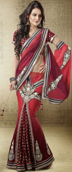 USD 88.7 Red Faux Georgette Lehenga Saree 42455