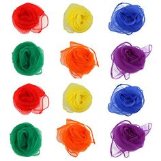 NUOLUX Rhythm Band Scarves Juggling Dance Scarves 12pcs (Assorted Color) - The item is a pack of 12pcs simple and fashion juggling scarves, which are made of silk fabric. Can be used as stage props for dance perfomance. Suitable for kindergarten, dance group and gift to decorate your bag or sun block use. Features - Color: Red, yellow, orange, blue, purple, green. - 12p...