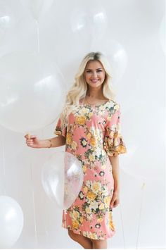 Poppy & Dot Soft Floral Bell Sleeve Dress in Pink. Size: Small - 2xl. Regular price is $52, and get an additional 10% off by using the code SN10