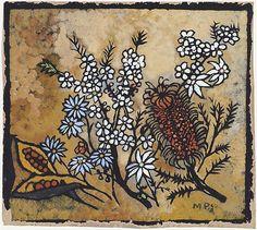 Still Life 1950 Colour stencil, 32 x 37 cm by Margaret Rose (MacPherson) Preston Australia Margaret Preston, Margaret Rose, Australian Painters, Australian Artists, Australian Flowers, White Hibiscus, National Art, Thread Art, Flower Oil