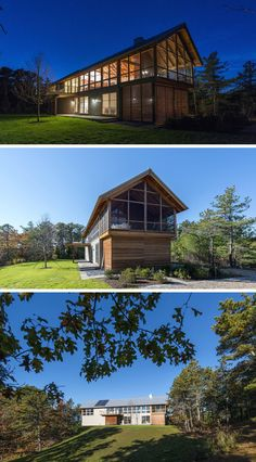 18 Modern House In The Forest // Lots of natural light streams through the windows of this large cabin surrounded by woodland.