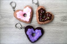 Donut Keychains Heart Donuts Donut Plush Donut by SoPrickinCute Realtor Gifts, Plushies, Keychains, Donuts, Personalized Items, Trending Outfits, Heart, Unique Jewelry, Handmade Gifts