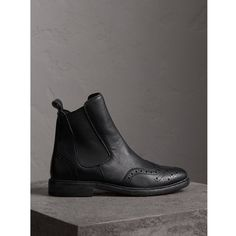 Burberry Brogue Detail Textured Leather Chelsea Boots ($750) found on Polyvore featuring women's fashion, shoes, boots, ankle booties, beatle boots, chelsea ankle boots, chelsea boots, almond toe booties and almond toe chelsea boots