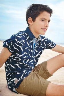 Navy Seagull All Over Print Polo Shirt (3-16yrs)