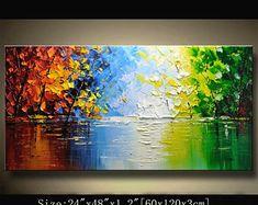arbre coloré de contemporain wall art, tableaux, peinture, décoration maison décoration murale, acrylique texturé peinture sur toile par Chen 0830