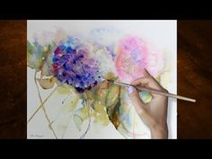 How To Paint in Negative Space in Watercolour Watercolor Hydrangea Blue Tutorial - YouTube