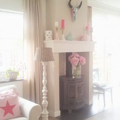 I♡ my fireplace..soo cosy #fireplace #schouw #tamarajonker #lovelyhomeandme #mantle #woodstovemantle #pink #interieuridee #landelijkestijl