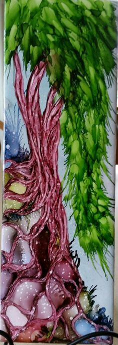 Rooted tree in alcohol ink on 12x4 tile with compressed air leaves and spritzed. Do you see the foot of the troll that lives under the tree? by tina