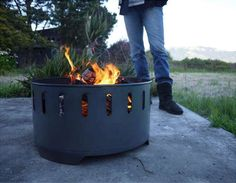 Upcycled Bonfire Pits - The Fire Ring Sets Aflame with Ease & Holds Your Drinks Conveniently (GALLERY)