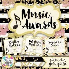 63 Music Awards {Chic & Glam, Editable} These glamorous music award certificates are the perfect way to recognize your music students for their hard work and dedication to music! #musictpt #pianoteaching #elmused #pluckpianista