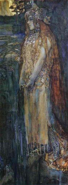 'Nadezhda Zabela-Vrubel as Princess Volkhova', Oil by Mikhail Vrubel (1856-1910, Russia)