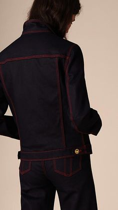 Deep indigo Military Detail Japanese Denim Jacket - Image 2