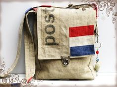 Since princess Maxima of the Netherlands wore an outfit  completely made of old mail bags, the postal theme became a hype among (Dutch) crafters. The coarse hessian bags with red-white-blue bands get recycled into trendy shopping bags, pillows, girls dresses and even stroller lining. The mail bags themselves have become hard to find.