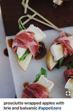 prosciutto wrapped apples with brie and balsamic - Yummi / Lecker - Appetizers Yummy Appetizers, Appetizers For Party, Appetizer Recipes, Christmas Appetizers, Mexican Appetizers, Snack Recipes, Christmas Ham, Party Snacks, Brunch Recipes