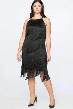 Black Cocktail Style  Plus Size Fringe Dress - For all your flapper needs and any upcoming cocktail party. This dress brings the WOW factor in an elegant way.  A5 #PlusSizeDresses #getthelook #PlusSize #PlusSizeFashion #PlusSizeStyle #CurvyGirl #boldcurvyfashionista #curvesarein #curvesfordays #curvy #curvyfashionista #Fashion #Style #PlusSizeDresses