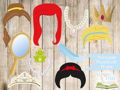 PRINCESS Photobooth Props PRINTABLE - Princess Hair, Tiara, Crown, Jewellery, Mirror etc - Instant Download. $3.00, via Etsy.