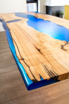 One of our blue and maple resin river tables Live Edge Furniture, Furniture Design, Resin, Tables, River, London, Studio, Building, Blue