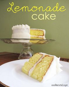 Lemonade Cake.  Delcious cake made with Lemon Cake mix and lemondae concentrate...with cream cheese frosting!