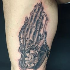 Skeleton prayer hands and broken pocketwatch by Pineapple! www.luckybambootattoo.com pineapple@luckybambootattoo.com