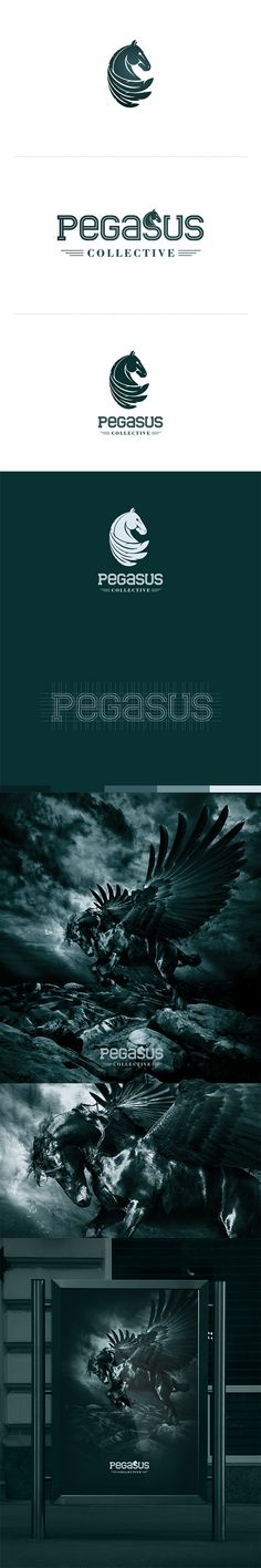 Pegasus Collective logo design and poster. The mark of the logo is very well made; it is detailed, yet not overworked and the subtle feathers give a visual clue that it is a pegasus rather than a typical horse. The color scheme of the logo and poster is also interesting. It is dark, which is symbolic of power and mystery, which draws in the attention and fascination of the viewer.