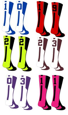 Build your jersey number!  Player ID Number socks available in over 10 colors at www.MadSportsStuff.com.  Great for lacrosse, basketball, softball, baseball and more...