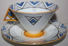 Stunning Shelley Art Deco Vogue Handpainted Cup and Saucer in Pottery & Glass, Pottery & China, China & Dinnerware, Shelley Cup And Saucer Set, Tea Cup Saucer, Tea Cups, Art Nouveau, Chevrons, Teapots And Cups, My Cup Of Tea, Art Moderne, Tea Service