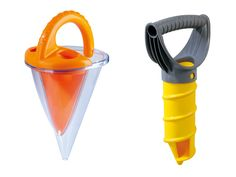 Haba Sand Toys  The beach is a construction zone, so add to your builder's tool belt. Twist the sand drill to dig holes. Jiggle the sand shaker to sprinkle texture. Fill and tip the spilling funnel to pour water.  Available at fatbraintoys.com, $4-$10.