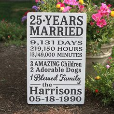 Special Anniversary Wood Sign / 25 Year by TheSignPatch on Etsy