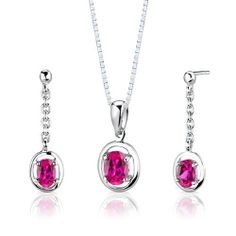 Sterling Silver Rhodium Finish Oval Shape Ruby Pendant Earrings and 18 inch Necklace Set . $34.99. Save 75% Off!