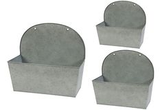 S/3 Metal Wall Planters >> pretty planters, that could easily double as very useful ice buckets!! ;)