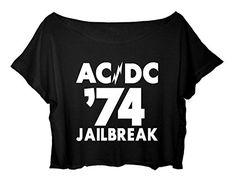 e4770cdfd Amazon.com: ASA Women's Crop Top Ac/dc Shirt Hard Rock Acdc 74 Jailbreak  T-shirt (Black): Clothing