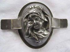 Antique / vintage tin half chocolate egg mould - Child face- Letang Fils No.982