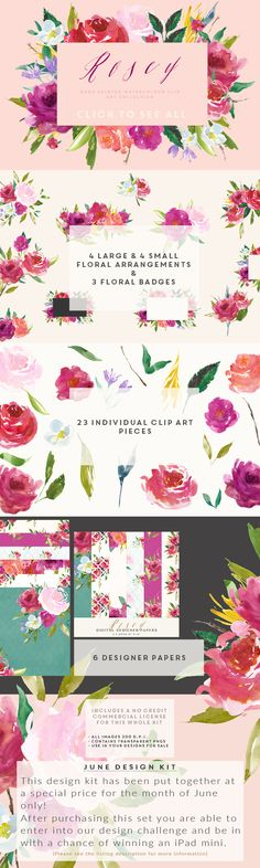 Posted by @newkoko2020 Watercolour Flower Clip Art - Rosey by CreateTheCut on @creativemarket