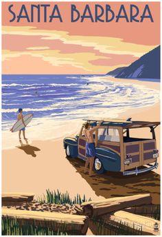 Santa Barbara, California - Woody On Beach Prints at AllPosters.com