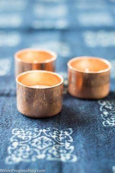 DIY Home Decor Ideas : Illustration Description DIY copper candle holders Copper Crafts, Copper Decor, Tea Light Candles, Tea Lights, Copper Candle Holders, Diy Crafts For Adults, Easy Diy, Simple Diy, Tea Light Holder