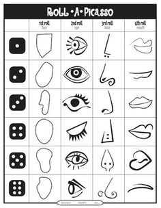 Roll A Picasso Art Game. This game is played individually with a dice. The students roll the dice and draw the appropriate part to create portraits in the style of Pablo Picasso. After rolling the dice 4 times your students will have completed a portrait Pablo Picasso, Kunst Picasso, Art Picasso, Picasso Portraits, Drawing Portraits, Picasso Kids, Picasso Drawing, Picasso Style, Portrait Art