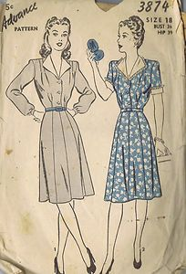 "Vintage One PC Dress Sewing Pattern 3874 Advance 40s Size 18 Bust 36 Hip 39"" Cut | eBay"