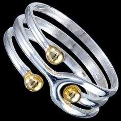 Silver ring, 3 beads, gilded Silver ring, Ag 925/1000 - sterling silver. Attractive design – 3 small beads. Gilded yellow gold.