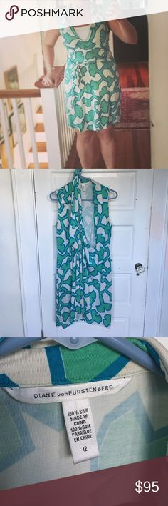 VINTAGE Diane von Furstenberg Wrap Dress Gorgeous VINTAGE sleeveless Diane von Furstenberg Wrap Dress. Size 12. This is a vintage dress and if you look closely, you will find a few small areas of discoloration, priced accordingly. See pictures. 100% silk. EUC. Diane Von Furstenberg Dresses