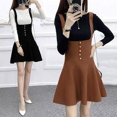 Korean version of knitting dress Korean Fashion Dress, Korean Dress, Korean Outfits, Asian Fashion, Kawaii Fashion, Cute Fashion, Girl Fashion, Fashion Outfits, Womens Fashion