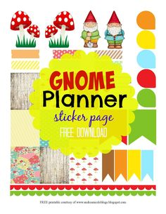 Free Printable Gnome Planner Page Decoration Stickers and Tags Andrea Nicole… Free Planner, Planner Pages, Happy Planner, Planner Ideas, Page Decoration, Printable Planner Stickers, Free Printables, Bullet Journal, Planner Decorating