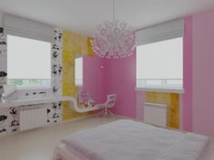 White, Pink and Yellow Teen Girls Bedroom Colors Design Ideas