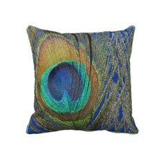"""Peacock feather """"eye"""" pillow"""