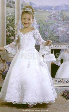New Long Sleeves Lace Princess White Flower Girl Dress sunsdress.com  #sunsdress newcelebritydresses.com  #newcelebritydresses