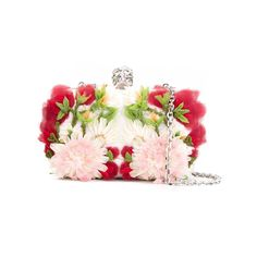 Multicoloured leather and silk crepe 'Skull' floral box clutch from Alexander McQueen featuring a Swarovski embellished signature skull clasp fastening, an optional chain strap and silver-tone hardware. Size: OS. Gender: Female. Pattern: Floral. Material: Leather/Silk Crepe.