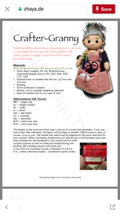Crafter Granny crafter-Granny Doll crochet Zhaya Pinterest 3-2018  https://www.zhaya.de/downloads/english/craftergranny_EN.pdf