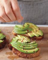 Avocado Coconut Toast | Martha Stewart Living - Here's another healthy breakfast that can double as a snack midday or midnight. Instead of butter on your toast, try using coconut oil.